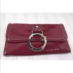 Guess Burlesque Red Patent Wallet Large Coin Zip